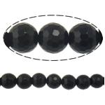Black Stone Beads, Ronde, gefacetteerde, 10mm, Gat:Ca 1mm, Lengte:Ca 15 inch, 10strengen/Lot, Ca 37pC's/Strand, Verkocht door Lot