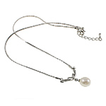 Freshwater Pearl Brass Necklace, with Brass, Teardrop, natural, white, 11mm, Sold Per 15.5 Inch Strand
