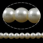 Glass Pearl Beads, Round, beige, 6mm, Hole:Approx 1-1.5mm, Length:32.3 Inch, 10Strands/Bag, Sold By Bag