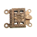 Brass Box Clasp, Rectangle, antique copper color plated, 2-strand, nickel, lead & cadmium free, 10x7x2.50mm, Hole:Approx 1mm, 300PCs/Bag, Sold By Bag