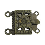 Brass Box Clasp, Rectangle, antique bronze color plated, 2-strand, nickel, lead & cadmium free, 10x7x2.50mm, Hole:Approx 1mm, 300PCs/Bag, Sold By Bag