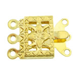 Brass Box Clasp, Rectangle, gold color plated, 3-strand, nickel, lead & cadmium free, 10x7x2.50mm, Hole:Approx 1mm, 200PCs/Bag, Sold By Bag