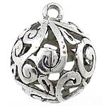 Zinklegering holle hangers, Zinc Alloy, Ronde, antiek zilver plated, nikkel, lood en cadmium vrij, 24mm, Gat:Ca 3mm, Verkocht door PC