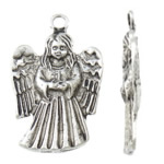 Character Shaped Zinc Alloy Pendants, Angel, antique silver color plated, lead & cadmium free, 22x34x3mm, Hole:Approx 3mm, Approx 200PCs/KG, Sold By KG