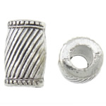 Zinc Alloy European Beads, Tube, antique silver color plated, without troll, nickel, lead &amp; cadmium free, 11x17mm, Hole:Approx 5mm, approx 142PCs/Bag, Sold by Bag