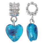 Lampwork European Pendants, Zinc Alloy, Heart, platinum color plated, blue, nickel, lead & cadmium free, 28x12x9mm, Hole:Approx 5mm, 10PCs/Bag, Sold By Bag