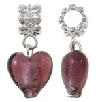 Lampwork European Pendants, Zinc Alloy, Heart, platinum color plated, purple, nickel, lead & cadmium free, 28.50x13x9mm, Hole:Approx 5mm, 10PCs/Bag, Sold By Bag