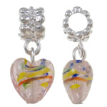 Lampwork European Pendants, Zinc Alloy, Heart, platinum color plated, nickel, lead & cadmium free, 27x12x9mm, Hole:Approx 5mm, 10PCs/Bag, Sold By Bag