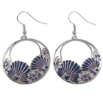Zinc Alloy Earrings, iron earring hook, Flat Round, enamel, nickel, lead & cadmium free, 49x30mm, 12Pairs/Bag, Sold By Bag