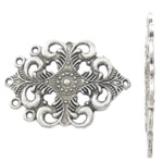 Flower Zinc Alloy Connector, antique silver color plated, 1/5 loop, nickel, lead & cadmium free, 40x28x2mm, Hole:Approx 2mm, Approx 200PCs/KG, Sold By KG