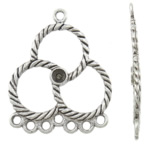 Flower Zinc Alloy Connector, antique silver color plated, 1/7 loop, nickel, lead & cadmium free, 28x36x2mm, Hole:Approx 2mm, Inner Diameter:Approx 3.5mm, Approx 400PCs/KG, Sold By KG