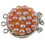 Brass Box Clasp, with Freshwater Pearl, Flat Round, 3-strand, pink, nickel, lead & cadmium free, 35x27x10mm, Hole:Approx 2mm, Sold By PC