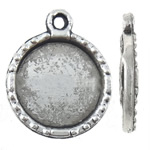 Zinc Alloy Pendant Cabochon Setting, Flat Round, antique silver color plated, nickel, lead & cadmium free, 12.50x15.20x2mm, Hole:Approx 1.2mm, Inner Diameter:Approx 10.2mm, Approx 1250PCs/KG, Sold By KG