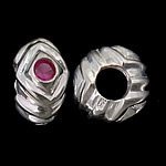 925 Sterling Silver European Beads, Rondelle, real silver plated, without troll & with cubic zirconia, purplish red, 12.50x7mm, Hole:Approx 5.2mm, 3PCs/Bag, Sold By Bag