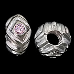 925 Sterling Silver European Beads Rondelle without troll   with cubic zirconia light pink 12.50x7mm Hole:Approx 5.2mm 3PCs/Bag