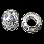 925 Sterling Silver European Beads, Rondelle, without troll, hollow design, real silver plated, with cubic zirconia, grey violet, 12.50x9mm, Hole:Approx 4.8mm, 3PCs/Bag, Sold by Bag