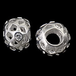 925 Sterling Silver European Beads, Rondelle, real silver plated, without troll & with cubic zirconia, 12.50x9mm, Hole:Approx 4.8mm, 3PCs/Bag, Sold By Bag
