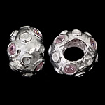 925 Sterling Silver European Beads, Rondelle, real silver plated, without troll & with cubic zirconia, light pink, 12x8mm, Hole:Approx 5mm, 3PCs/Bag, Sold By Bag