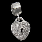 925 Sterling Silver Pendant, Heart, with cubic zirconia, 10x12.50x3mm, Hole:Approx 5mm, 5PCs/Bag, Sold By Bag