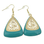 Zinc Alloy Earrings, iron earring hook, Triangle, gold color plated, enamel & with rhinestone & hollow, turquoise blue, nickel, lead & cadmium free, 54x29x5mm, 12Pairs/Bag, Sold By Bag
