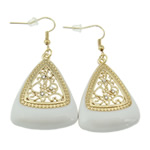 Zinc Alloy Earrings, iron earring hook, Triangle, gold color plated, enamel & with rhinestone & hollow, white, nickel, lead & cadmium free, 54x29x5mm, 12Pairs/Bag, Sold By Bag