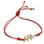 Zinc Alloy Bracelet, with Wax Cord, Letter, gold color plated, red, nickel, lead & cadmium free, 25x8.50x2.50mm, Sold Per Approx 7.5 Inch Strand