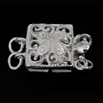 925 Sterling Silver Box Clasp Square 2-strand   hollow 9x9x5mm 5PCs/Bag