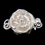 925 Sterling Silver Box Clasp, Flower, single-strand, 10x10x6mm, 5PCs/Bag, Sold By Bag