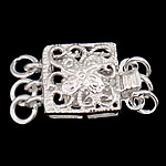925 Sterling Silver Box Clasp Square 3-strand   hollow 9x9x5mm 5PCs/Bag
