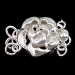 925 Sterling Silver Box Clasp Flower 3-strand   hollow 11x11x6.50mm 5PCs/Bag