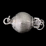 925 Sterling Silver Box Clasp, Round, single-strand & frosted, 9x8mm, 10PCs/Bag, Sold By Bag