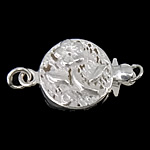 925 Sterling Silver Box Clasp, Flat Round, single-strand, 11x11x4mm, 5PCs/Bag, Sold By Bag