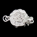 925 Sterling Silver Box Clasp, Flower, single-strand, 10x10x7mm, 5PCs/Bag, Sold By Bag