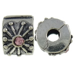 Zinc Alloy European Clip, Rondelle, antique silver color plated, with rhinestone, nickel, lead & cadmium free, 11x7x9.60mm, Hole:Approx 3mm, 10PCs/Bag, Sold By Bag