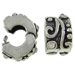 Brass European Clip Rondelle antique silver color plated with rhinestone nickel lead   cadmium free 9.50x9x6.50mm Hole:Approx 4mm