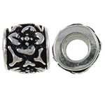 Zinc Alloy European Beads, Drum, antique silver color plated, without troll, nickel, lead &amp; cadmium free, 9.5x8.5mm, Hole:Approx 4.7mm, 10PCs/Bag, Sold by Bag