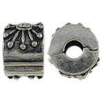 Klips mosięzny European, Mosiądz, Okrąg, Platerowane kolorem starego srebra, z kamieniem, bez zawartości niklu, ołowiu i kadmu, 11x7x9.80mm, otwór:około 3mm, 10komputery/torba, sprzedane przez torba