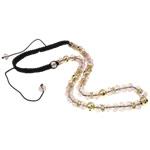 Ожерелья Шамбал, цинковый сплав, с Восковой шнур & Кристаллы, Круглая, плакирован золотом, со стразами, не содержит никель, свинец, 10mm, Продан через Приблизительно 22.5 дюймовый Strand