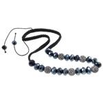 Ожерелья Шамбал, клей, с Восковой шнур & Кристаллы, Круглая, Связанный вручную, со стразами, 11.5mm, Продан через Приблизительно 19.5 дюймовый Strand