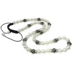 Ожерелья Шамбал, Стеклянный, с Восковой шнур & Немагнитный гематит & Латунь, Круглая, Связанный вручную, со стразами, белый, 15mm, Продан через Приблизительно 25.5 дюймовый Strand