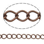 Iron Rhombus Chain, Donut, antique copper color plated, nickel, lead & cadmium free, 7x10x1.40mm, Length:25 m
