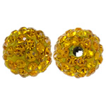 Rhinestone Clay Pave Beads, Round, with rhinestone, Sun, 10mm, Hole:Approx 2mm, 10PCs/Bag, Sold By Bag