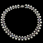 Natural Freshwater Pearl Necklace brass box clasp Button white 6-10mm Sold Per 17.5 Inch Strand