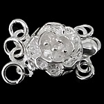 925 Sterling Silver Box Clasp Flower 3-strand 8.60x8.60x5.40mm Hole:Approx 1.5mm 10PCs/Bag