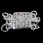925 Sterling Silver Box Clasp Square 3-strand   hollow 7.40x7.40x3mm Hole:Approx 1.5mm 10PCs/Bag