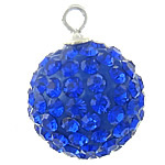 CRYSTALLIZED™ Element Crystal Pendants, with Clay Pave, Round, Dark Sapphire, 7mm, Hole:Approx 2mm, 5PCs/Bag, Sold By Bag