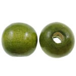 Wood Beads, Round, army green, 14mm, Hole:Approx 4mm, approx 555PCs/Bag, Sold by Bag