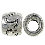 Zinc Alloy European Beads, Column, antique silver color plated, without troll, nickel, lead &amp; cadmium free, 10x7.5mm, Hole:Approx 5mm, approx 430PCs/KG, Sold by KG