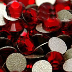 Crystal Cabochons, Dome, flat back & faceted, siam, Grade A, 3.0-3.2mm, 10Grosses/Bag, 144PCs/Gross, Sold By Bag