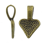 Zinc Alloy Glue on Bail, Heart, antique bronze color plated, nickel, lead & cadmium free, 9.50x15.50x1.80mm, Hole:Approx 3x4mm, Approx 1666PCs/KG, Sold By KG